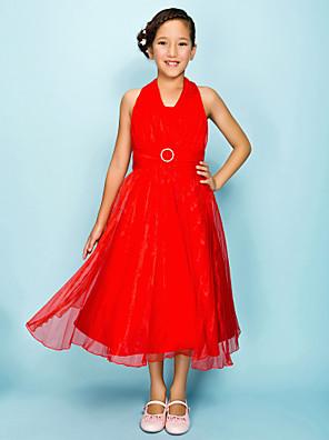 Ниже колена Органза Подростковое праздничное платье А-силуэт / Принцесса Хальтер Естественная линия талии сДрапировка / Пояс / лента /