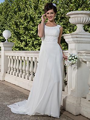 Lanting Bride® Tubinho Pequeno / Tamanhos Grandes Vestido de Noiva - Clássico e atemporal Transparências Cauda Corte Decote em U Chiffon