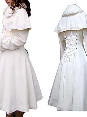 Casaco Lolita Clássica e Tradicional Princesa Cosplay Vestidos Lolita Branco Cor Única Manga Comprida Comprimento Médio Casaco Para