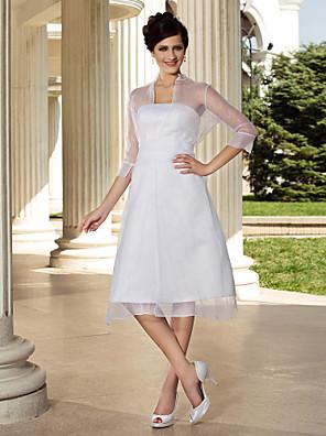 Lanting Bride A-line / Princess Petite / Plus Sizes Wedding Dress-Knee-length Strapless Organza