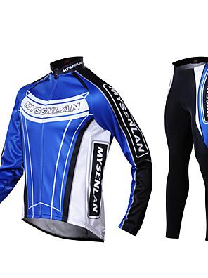 MYSENLAN® ג'קט ומגנסיים לרכיבה לגברים שרוול ארוך אופניים שמור על חום הגוף / עמיד / בטנת פליז / לבישג'רזי / טייץ רכיבה על אופניים /