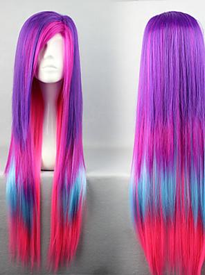 פאות לוליטה לוליטה פאנק צבע הדרגתי ארוך סגול / ורוד / כחול פאות לוליטה 80 CM פאות קוספליי טלאים פאה ל נשים