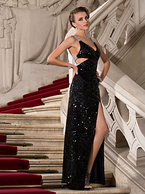 TS Couture® Formal Evening / Military Ball Dress - Sparkle & Shine / Furcal Plus Size / Petite Sheath / Column V-neck / Straps Floor-length Sequined