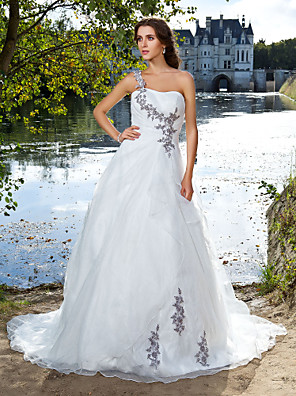 Lanting bruden bolden kjole petite / plus størrelser brudekjole-domstol tog den ene skulder organza