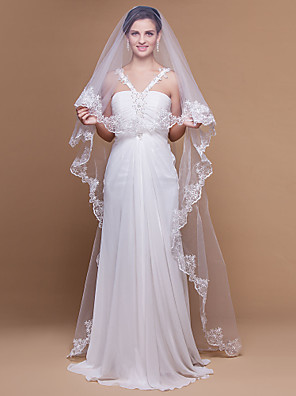 Wedding Veil One-tier Cathedral Veils Lace Applique Edge / Scalloped Edge 106.3 in (270cm) Tulle White White / IvoryA-line, Ball Gown,