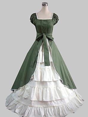 Kort Ermet Floor lengde Grønn Cotton Country Lolita Dress