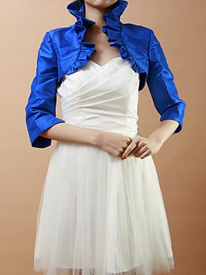כורכת חתונה מעילים / מעילים חצי שרוול טפטה כחול רויאל חתונה / מסיבה / ערב קפלים פתח חזית