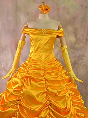 תחפושות קוספליי / תחפושת למסיבה נסיכות פסטיבל/חג תחפושות ליל כל הקדושים צהוב אחיד שמלה / צווארון האלווין (ליל כל הקדושים) / קרנבל נקבה
