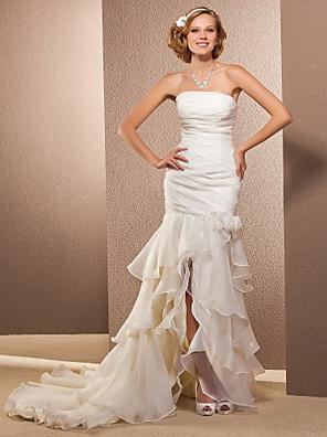 Lanting Bride Trumpet/Mermaid Petite / Plus Sizes Wedding Dress-Asymmetrical Strapless Organza