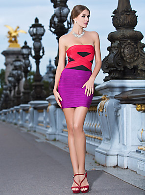 Cocktail Party / Holiday Dress Sheath / Column Strapless Short / Mini Rayon with Bandage