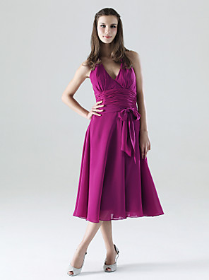 Lanting Bride® באורך הקרסול שיפון שמלה לשושבינה - גזרת A קולר / צווארון וי פלאס סייז (מידה גדולה) / פטיט עם פפיון(ים) / סרט / סלסולים