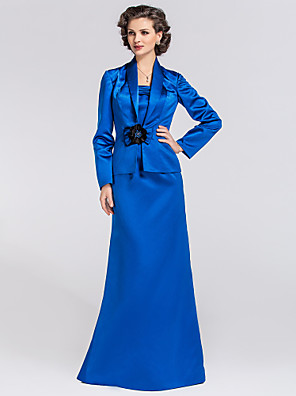 Trumpet / Mermaid Plus Size / Petite Mother of the Bride Dress - Wrap Included Floor-length Long Sleeve Satin withBow(s) / Flower(s) /