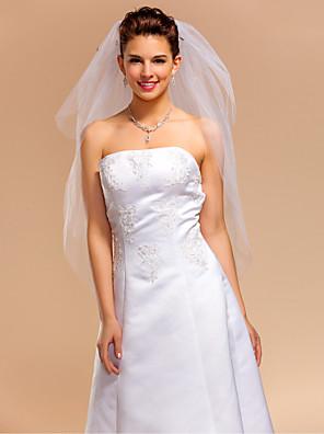 """הינומות חתונה שלוש שכבות צעיפי מרפק חיתוך קצה 35.43 אינץ' (90 ס""""מ) טול שנהב קו A, שמלת נשף, נסיכה, חצוצרה / בת הים, נדן / טור"""