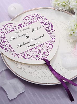 személyre szabott szív alakú papír kézi ventilátor - lila virág szett (12)