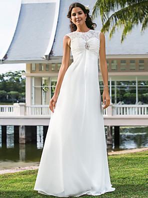 Lanting Bride Sheath/Column Petite / Plus Sizes Wedding Dress-Floor-length Jewel Chiffon