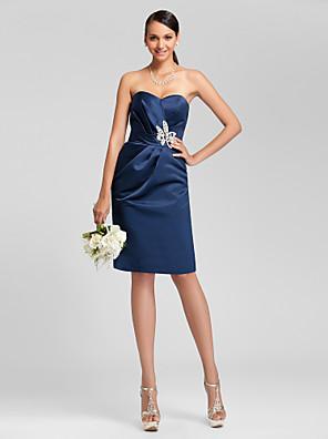 Knee-length Satin Bridesmaid Dress Sheath / Column Strapless / Sweetheart Plus Size / Petite with Beading / Sash / Ribbon / Criss Cross