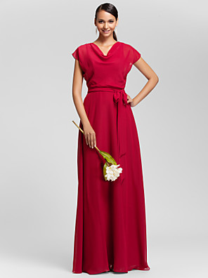 Lanting Bride® Longo Chiffon Vestido de Madrinha - Tubinho Drapeado Tamanhos Grandes / Mignon com Pregueado / Faixa / Fita
