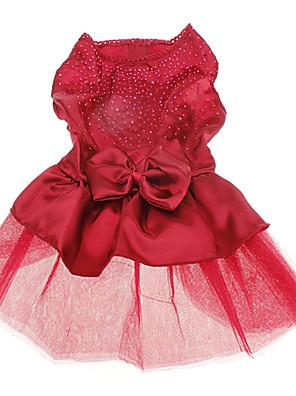 כלבים שמלות Red / כחול בגדים לכלבים קיץ אחיד / פאייטים חתונה / חג