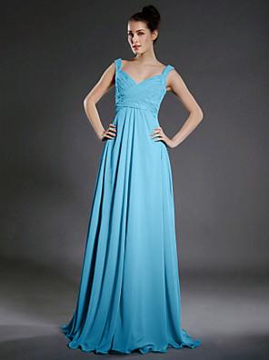 Lanting Bride® Na zem Šifón Šaty pro družičky A-Linie Do V / Popruhy Větší velikosti / Malé s Korálky / Nabírání / Křížení