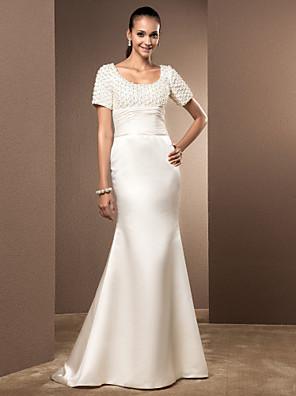 Lanting mireasa trompeta / sirena Petite / dimensiuni, plus tren nunta rochie de curte linguriță dantelă / satin