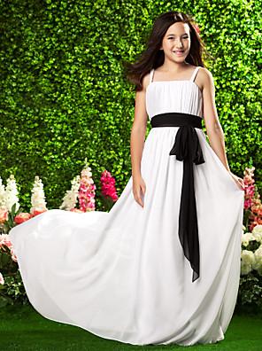 Lanting Bride® Dlouhá vlečka Šifón Šaty pro malou družičku Pouzdrové Špagetová ramínka Empír s Mašle / Nabírání / Šerpa / Stuha