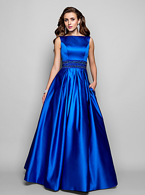 TS Couture® Prom / Formal Evening / Military Ball Dress - Vintage Inspired Plus Size / Petite A-line / Ball Gown Bateau Floor-length Satin with