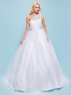 Lanting Bride® נשף מידה גדולה / קטן שמלת כלה - שיק ומודרני / זוהר ודרמטיות בהשפעת וינטאג' שובל קורט כתפיה אחת טול עם