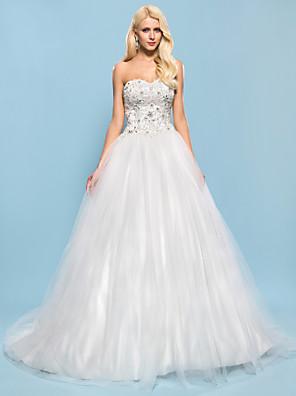Lanting Bride® נשף קטן / מידה גדולה שמלת כלה - שיק ומודרני / אלגנטי ויוקרתי ברק ונצנצים שובל כנסייה (צ'אפל) מחשוף לב סאטן / טול עם