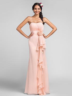 Lanting Bride® Na zem Šifón Šaty pro družičky - Pouzdrové Srdce Větší velikosti / Malé s Nabírání / Květina(y) / Kaskádové řasení