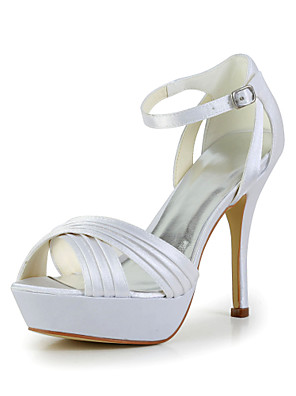 Women's Shoes Satin / Stretch Satin Summer Wedding Stiletto Heel BuckleBlack / Yellow / Pink / Purple / Red / Ivory / White / Silver /
