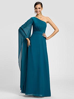 Lanting Bride® עד הריצפה שיפון שמלה לשושבינה - מעטפת \ עמוד כתפיה אחת פלאס סייז (מידה גדולה) / פטיט עם סרט / בד נשפך בצד