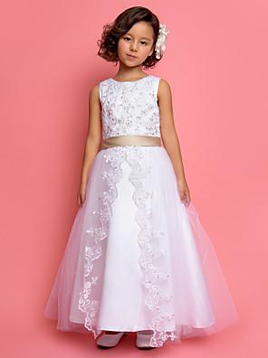 כלה לנטינג גזרת A / נסיכה באורך הקרסול שמלה לנערת הפרחים - סאטן / טול ללא שרוולים עם תכשיטים עם תחרה / פרטים מפנינה / נצנצים