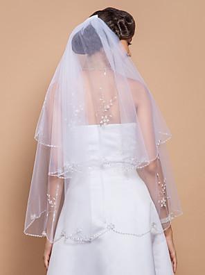 """הינומות חתונה שתי שכבות צעיפי אצבע קצה חרוזים 27.56 אינץ' (70 ס""""מ) טול לבן קו A, שמלת נשף, נסיכה, חצוצרה / בת הים, נדן / טור"""