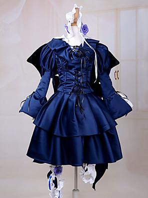 קיבל השראה מ Pandora Hearts Alice אנימה תחפושות קוספליי חליפות קוספליי / שמלות אחיד כחול שרוולים ארוכיםשמלה / רצועת ראש / כפפות / כנפיים