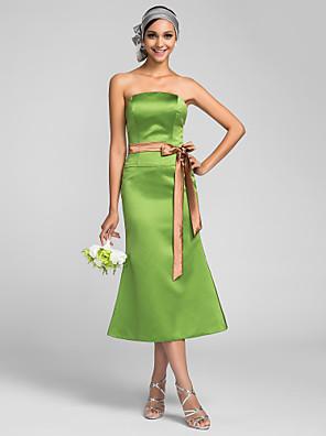 באורך הקרסול סאטן שמלה לשושבינה  בתולת ים \ חצוצרה סטרפלס פלאס סייז (מידה גדולה) / פטיט עם סרט