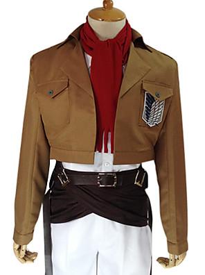 קיבל השראה מ Attack on Titan Mikasa Ackermann אנימה תחפושות קוספליי חליפות קוספליי אחיד חום שרוולים ארוכיםמעיל / חולצה / מכנסיים / אביזרי