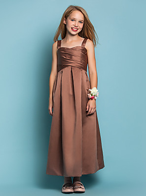 Ankle-length Satin Junior Bridesmaid Dress Sheath / Column Straps Natural with Criss Cross