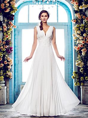 Lanting Bride® מעטפת \ עמוד קטן / מידה גדולה שמלת כלה - קלסי ונצחי / זוהר ודרמטיות עד הריצפה צווארון וי שיפון עם