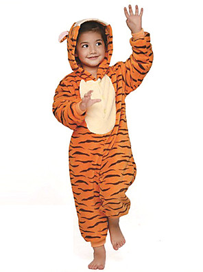 Kigurumi Pyžama Tiger Leotard/Kostýmový overal Festival/Svátek Animal Sleepwear Halloween Oranžová Patchwork Flanel Kigurumi Pro Dítě