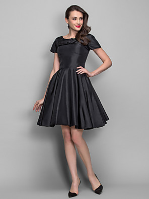 TS Couture® Cocktail Party Dress - 1950s Plus Size / Petite A-line / Princess Bateau Knee-length Taffeta with Draping / Pearl Detailing