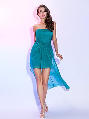 TS couture® 칵테일 파티 드레스 - 높은 낮은 플러스 크기 / 아담 시스 / 골 십자가와 열 끈 비대칭 쉬폰
