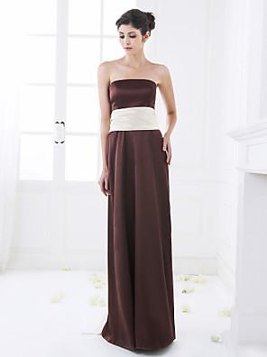 Floor-length Stretch Satin Bridesmaid Dress A-line Strapless Plus Size / Petite with Sash / Ribbon