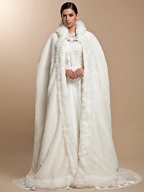 עליונית מפרווה / כורכת חתונה / כיסויי ראש ופונצ'ו שכמיות שרוול ארוך דמוי פרווה מסיבה / ערב פתח חזית