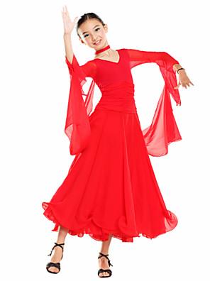 ריקודים סלוניים שמלות בגדי ריקוד ילדים אימון טול / ויסקוזה שרוול ארוך