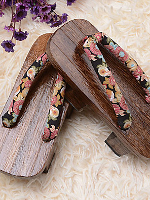 נעליים Wa Lolita לוליטה פלטפורמה נעליים פרחוני 3 CM חום ל נשים כותנה / Wood