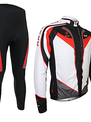 Arsuxeo® חולצה וטייץ לרכיבה לגברים שרוול ארוך אופנייםנושם / שמור על חום הגוף / ייבוש מהיר / 3D לוח / מגביל חיידקים / מכפלת עם מחזיר אור /