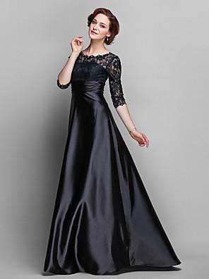 Lanting Bride® Linha A Tamanhos Grandes / Mignon Vestido Para Mãe dos Noivos - Transparente Cauda Escova Meia Manga Renda / Cetim Elástico
