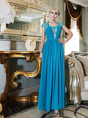 Formeller Abend / Militär Ball / Hochzeitsfeier Kleid - Vintage inspiriert Eng anliegend Queen Anne Knöchel-Länge Chiffon / Spitze mit