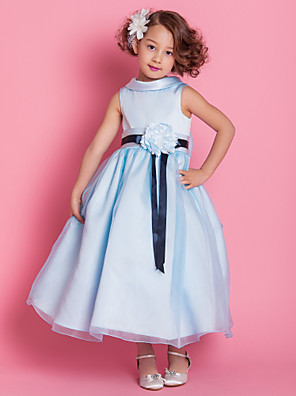 Lanting Bride A-line / Princess Ankle-length Flower Girl Dress - Organza / Satin Sleeveless High Neck withBow(s) / Flower(s) / Sash /