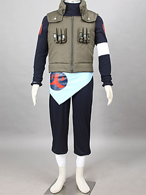 קיבל השראה מ Naruto Asuma Sarutobi אנימה תחפושות קוספליי חליפות קוספליי טלאים שחור / כחול / ירוק שרוולים ארוכיםוסט / חולצת טי / מכנסיים /